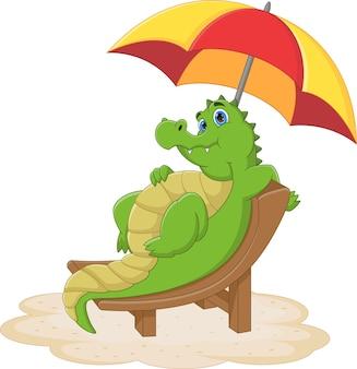 Cartoon cute baby crocodile sitting and sunbathing