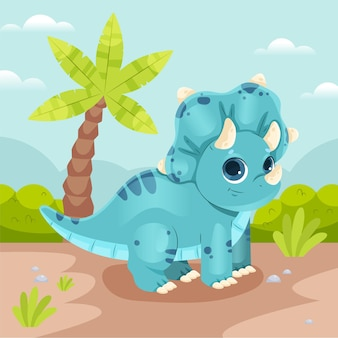 Cartoon cute baby dinosaur