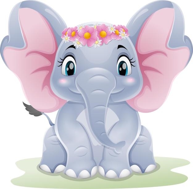 Cartoon cute baby elephant sitting in the grass
