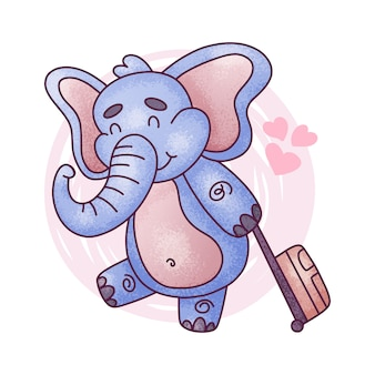 Cartoon cute baby elephant. vector illustration on white background.