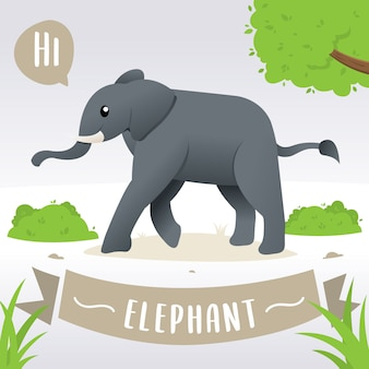 Cartoon cute baby elephant