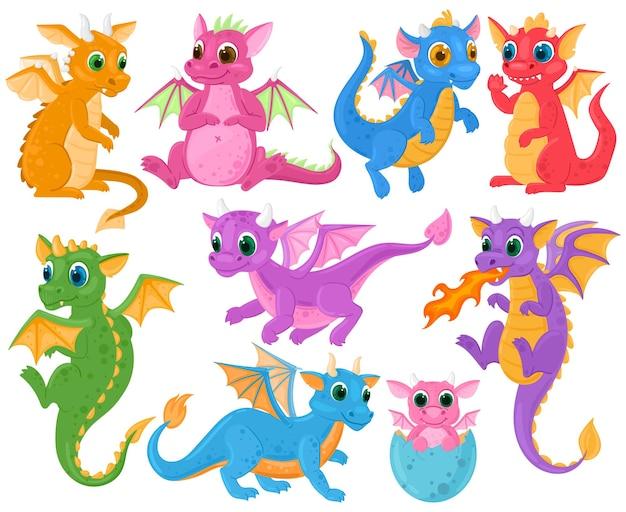 漫画のかわいい赤ちゃんのおとぎ話のファンタジードラゴンのキャラクター。中世の生き物ドラゴンキッズ、おとぎ話の伝説ディノベイビーベクターイラストセット。小さな漫画のドラゴン中世、神話の動物