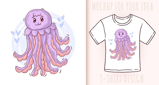 Cartoon cute baby jellyfish.