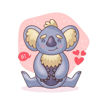 Cartoon cute baby koala sitting.