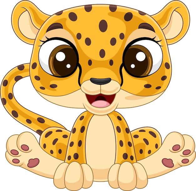 Мультфильм милый ребенок леопард сидит