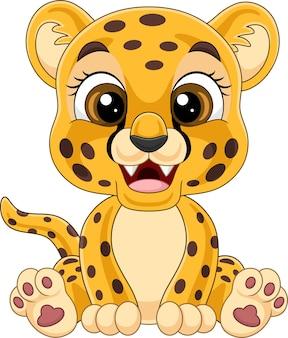 Мультяшный милый ребенок леопарда сидит