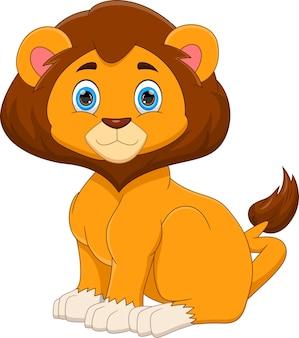 白い背景の上の漫画かわいい赤ちゃんライオン