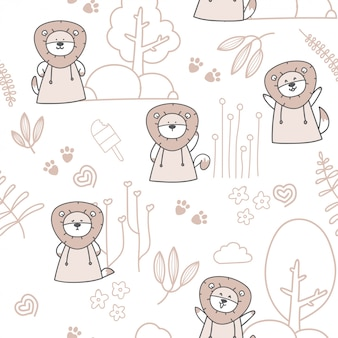 Cartoon cute baby lion seamless pattern
