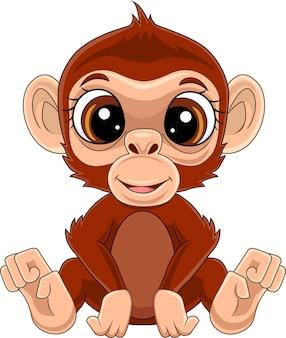 만화 귀여운 아기 원숭이 앉아