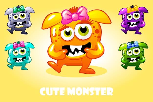 다른 색상, 재미있는 문자 집합에서 만화 귀여운 아기 괴물