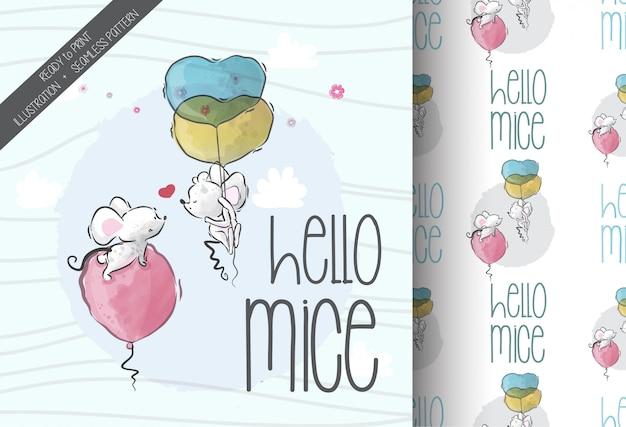사랑 완벽 한 패턴에 빠지는 만화 귀여운 아기 마우스