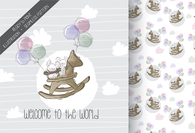 Cartoon cute baby mouse flying seamless pattern