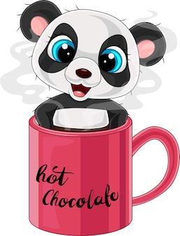 Мультяшная милая панда в красной чашке