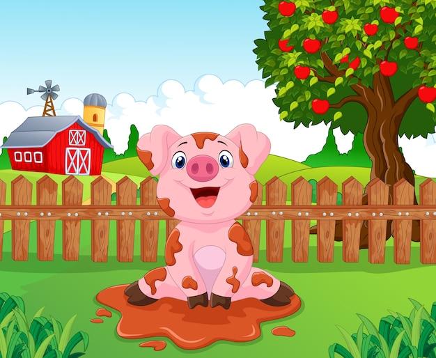 Cartoon cute baby pig in the garden