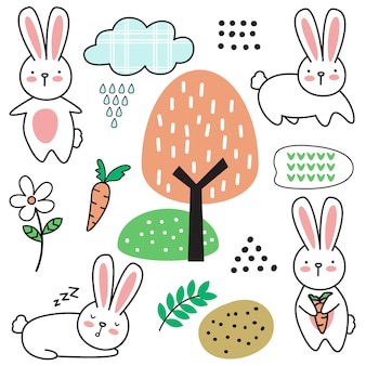Cartoon cute baby rabbit seamless pattern