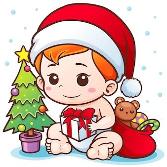 Cartoon cute baby santa merry christmas