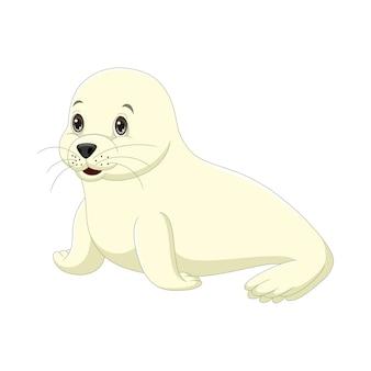 Мультяшный милый ребенок тюлень на белом фоне