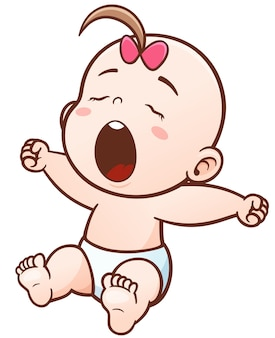 Cartoon cute baby sleepy
