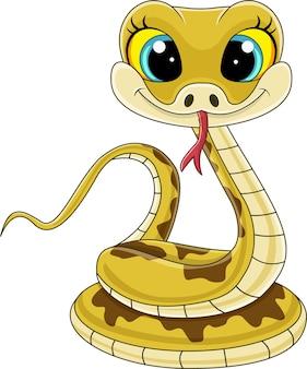 만화 귀여운 아기 뱀 앉아