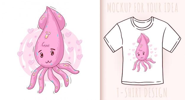 Cartoon cute baby squid.