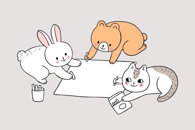 Cartoon cute back to school animals painting