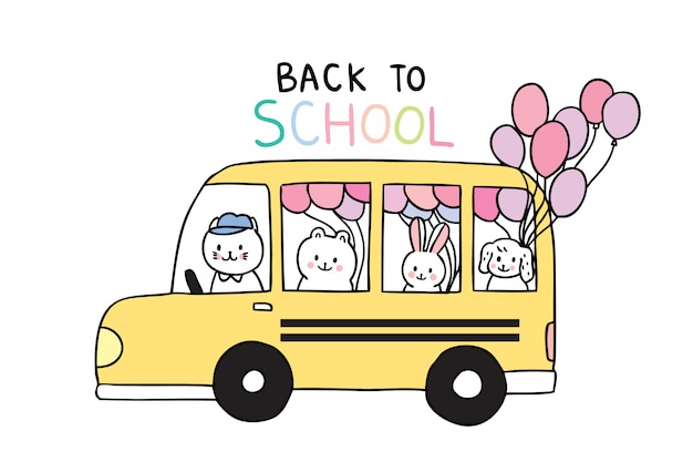 Cartoon cute back to school animals and school bus