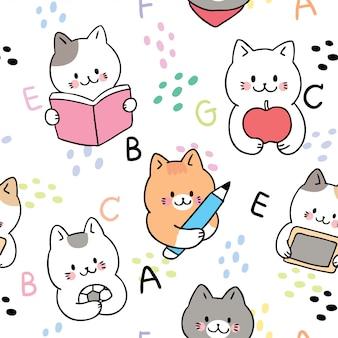 Cartoon cute back to school animals seamless pattern