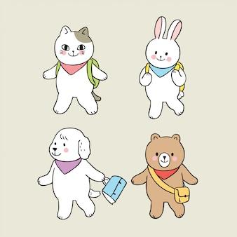 Cartoon cute back to school animals walking to school
