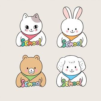 Cartoon cute back to school animals