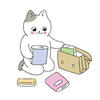 Cartoon cute back to school cat and book