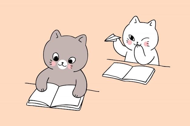 Cartoon cute back to school cat playing