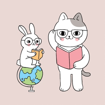Cartoon cute back to school cat and rabbit reading book