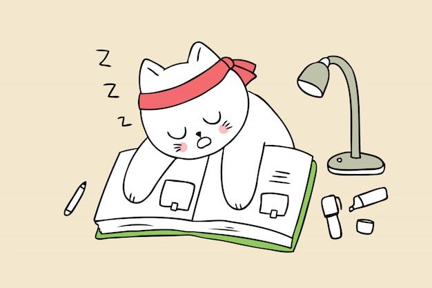 Cartoon cute back to school cat sleeping and book