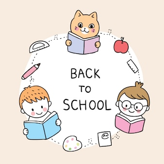 Cartoon cute back to school kids and cat reading book