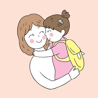 Cartoon cute back to school mother and daughter kissing .