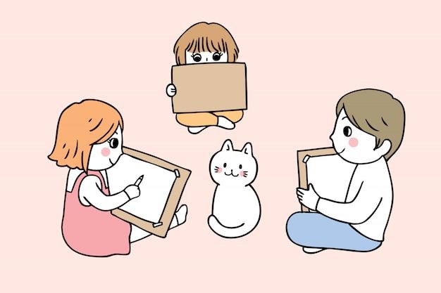 Cartoon cute back to school students drawing cat .