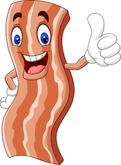 Cartoon cute bacon giving a thumb up
