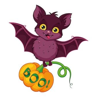 할로윈 호박과 만화 귀여운 박쥐입니다. 만화 벡터 일러스트 레이 션