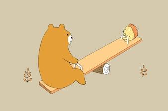 かわいいクマとハリネズミの漫画ベクトルを漫画。