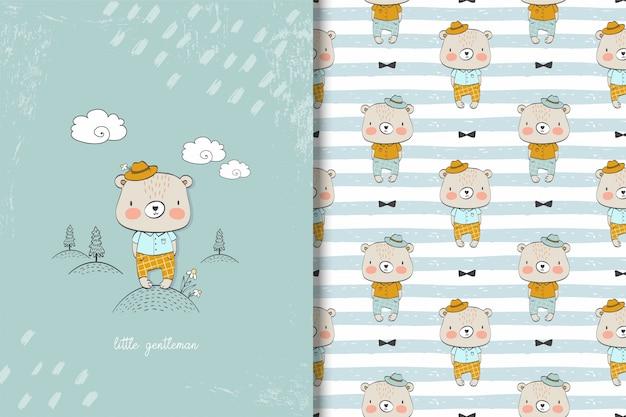 Cartoon cute bear card and seamless pattern