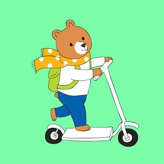 漫画かわいいクマ乗馬スクーターベクトル。