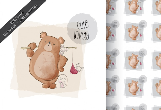 Cartoon cute bear  with baby mouse seamless pattern
