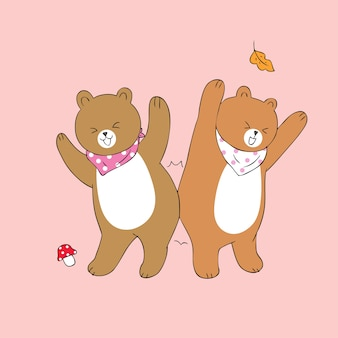 Cartoon cute bears dancing vector.