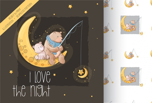 Cartoon cute bears on the moon seamless pattern