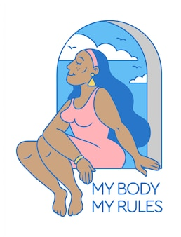 Cartoon cute and beauty black woman sitting on the window with body positivity slogan