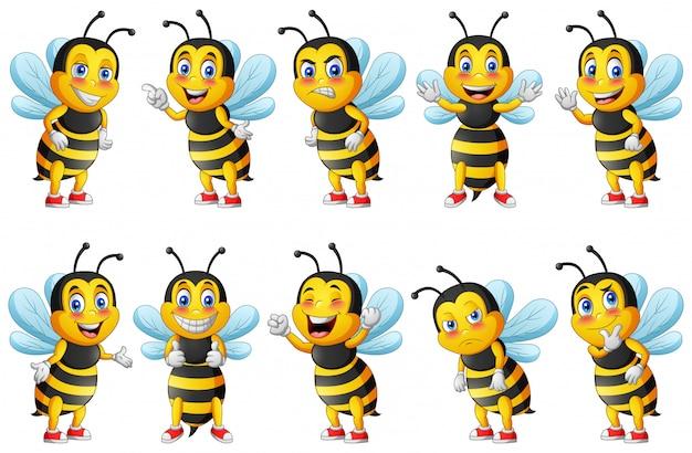 Cartoon cute bee character set.