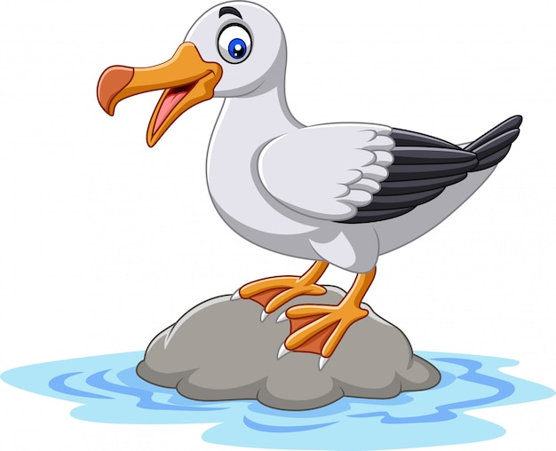 Cartoon cute bird albatross standing on a rock