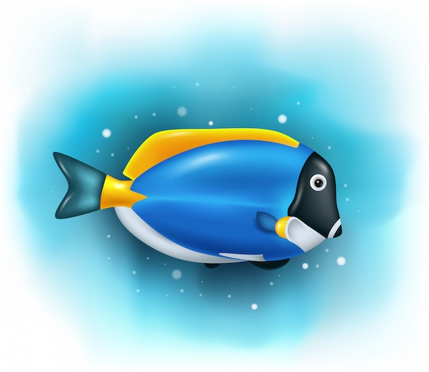 Cartoon cute blue tang fish