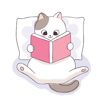 만화 귀여운 책 하루, 사랑스러운 흰 고양이 책을 읽고