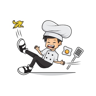 Cartoon of cute boy chef slipped on banana
